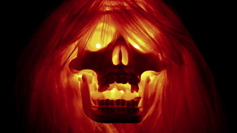 Scary skull on black background Stock Video Footage