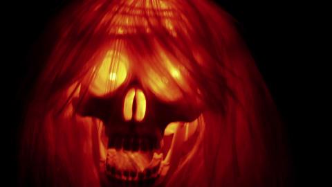 Spooky skull halloween background Stock Video Footage