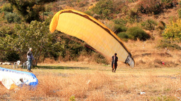 TRAINING PARAGLIDE stock footage
