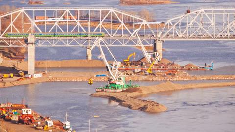 Building the Bridge, Time Lapse Stock Video Footage