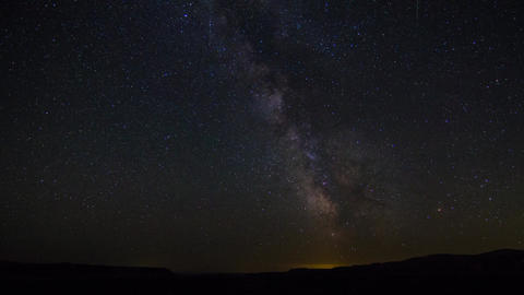 Milky Way Above Horizon With Lights Movements stock footage