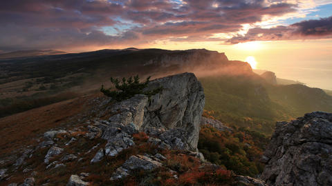 4K. Timelapse sunrise in the mountains Ai-Petri Footage