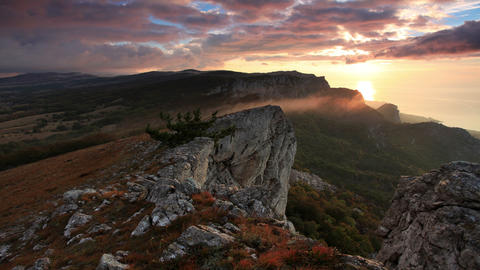4K. Timelapse sunrise in the mountains Ai-Petri Stock Video Footage