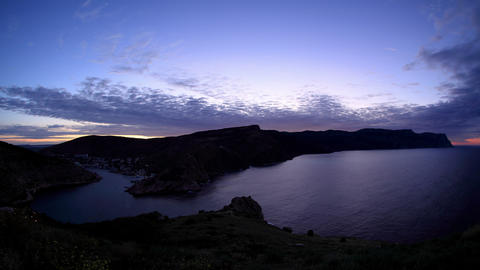 4K. Timelapse sunrise in the mountains. Balaklava Stock Video Footage