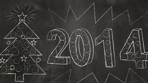Drawing 2014 New Year Greetings On Blackboard stock footage
