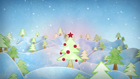 cardboard christmas forest intro last 10s are loop Stock Video Footage