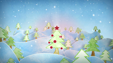 cardboard christmas forest intro last 10s are loop Animation