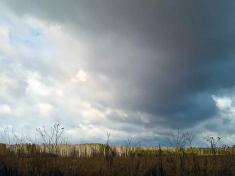 Autumn clouds over the field. Time Lapse Stock Video Footage