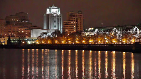 Night city, reflected in water Stock Video Footage