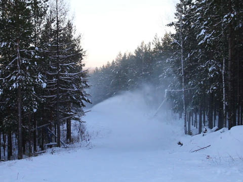 The work of a snow cannon. Creation of snow on the Stock Video Footage