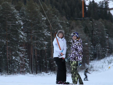 Rise on the lift. Snowboard Stock Video Footage