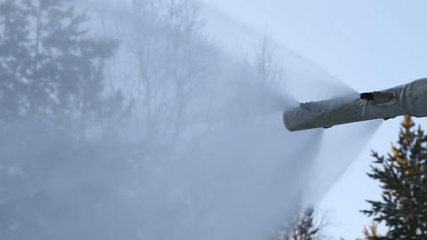 The work of a snow cannon. Creation of snow on the Footage
