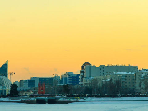 Central embankment. Ekaterinburg. Russia. Time Lap Stock Video Footage