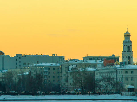 Central embankment. Ekaterinburg. Russia. Time Lap Footage