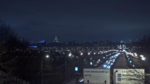 Moscow night urban view. Time Lapse Stock Video Footage