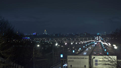 Moscow night urban view. Time Lapse Footage