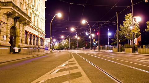 Prague Night Traffic Time Lapse Stock Video Footage