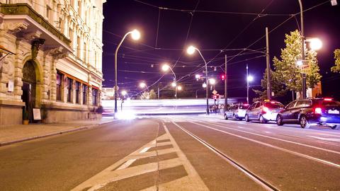 Prague Night Traffic Time Lapse Footage