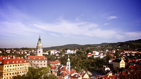 Cesky Krumlov, Czech Republic. Time Lapse Stock Video Footage