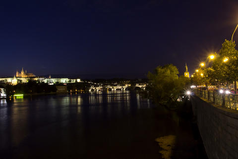 Vltava River and Charles Bridge at night. Prague. Stock Video Footage
