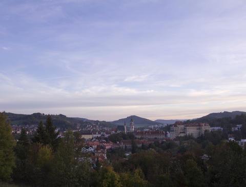 Sunset over Cesky Krumlov, Czech Republic. Time La Stock Video Footage