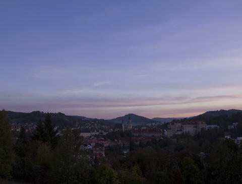 Sunset over Cesky Krumlov, Czech Republic. Time La Footage