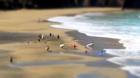 surfer leaving nudist beach tilt shift time 11132 Stock Video Footage