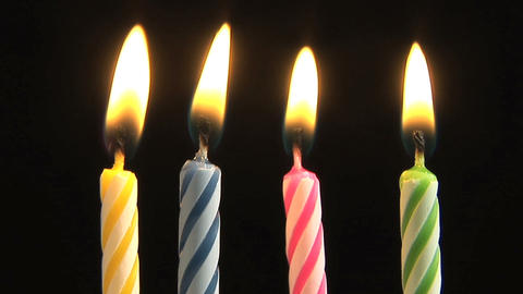Birthday Candles blowing out, slow motion Stock Video Footage