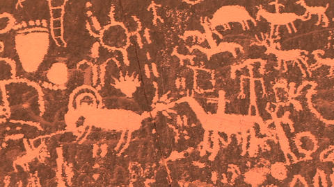 Newspaper Rock, Petoglyphs Stock Video Footage