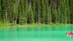 Emerald Lake Canoe Stock Video Footage