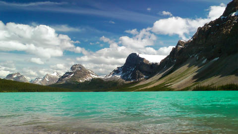 Bow Lake and Crowfoot Mountain Stock Video Footage