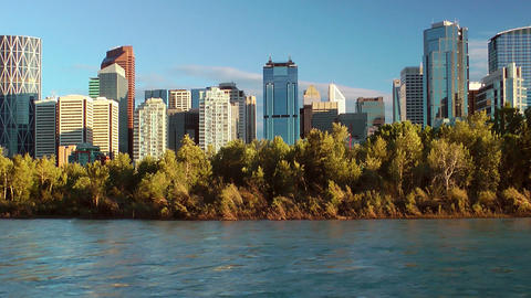 Calgary Waterfront Skyline Stock Video Footage