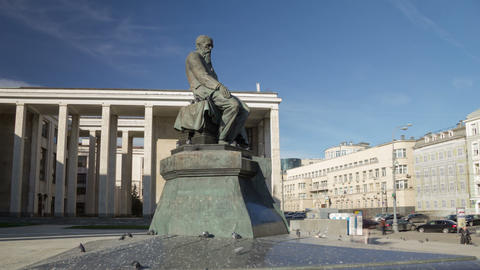 Dostoevsky monument hyperlapse Stock Video Footage