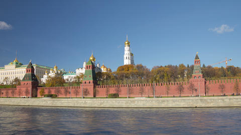 Walk along Kremlin wall hyperlapse 4K Stock Video Footage