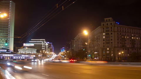 New Arbat bridge night hyperlapse Stock Video Footage