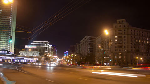 New Arbat bridge night hyperlapse Footage