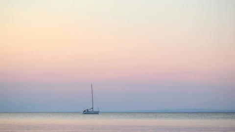 Yacht At Sunset stock footage