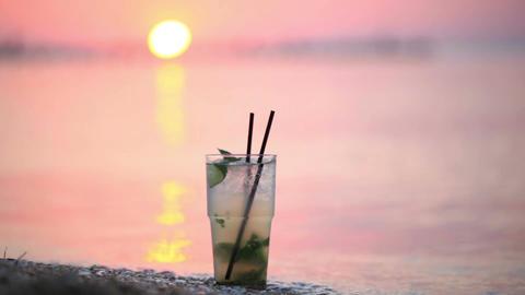 Mojito cocktail at the seashore Stock Video Footage