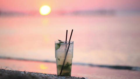 Mojito cocktail at the seashore Stock Video Footage