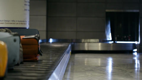 Baggage conveyor belt in the airport Stock Video Footage