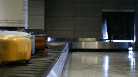 Baggage Conveyor Belt In The Airport stock footage