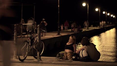 Time lapse pier Thessaloniki, Greece Stock Video Footage