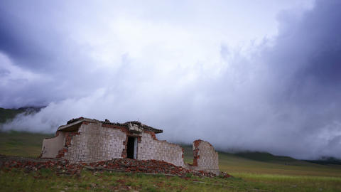 4K Ruined House and Storm Cloud time lapse Stock Video Footage