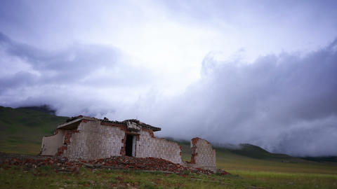 4K Ruined House and Storm Cloud time lapse Footage