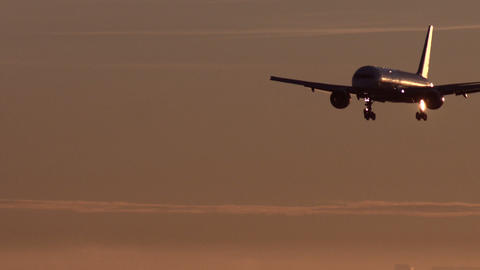 Landing of Passenger Plane at dawn Footage