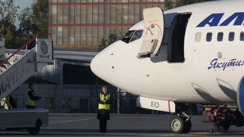 Passenger Gangway fits with Aircraft Stock Video Footage