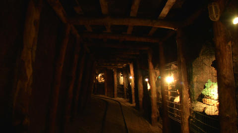 mining tunnel 02 Stock Video Footage