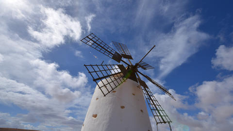 4k UHD windmill and clouds time lapse tilt 11153 Stock Video Footage