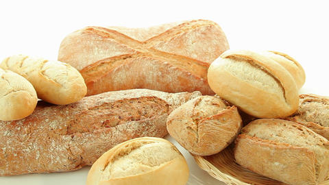 Fresh baked group of different bread products Stock Video Footage