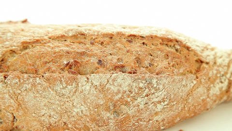 Bakery bread on white background closeup Stock Video Footage